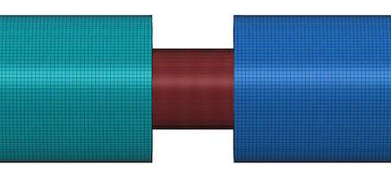 FEM grid representation of a sandwiched specimen in a SHPB